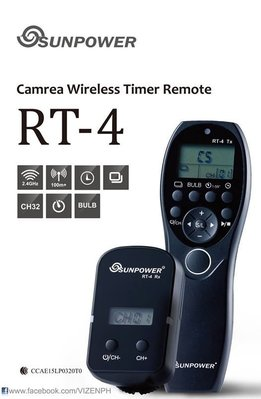 SUNPOWER RT-4 無線液晶  定時遙控器 縮時攝影 B快門 連拍 無線快門線 公司貨