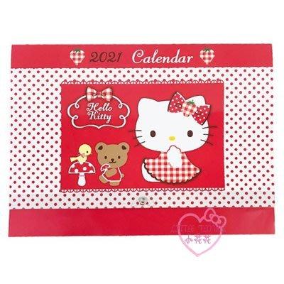 ♥小花花日本精品♥HelloKitty點點紅色格紋裙小熊造型2021掛曆月曆壁掛月曆行事曆年曆62055505