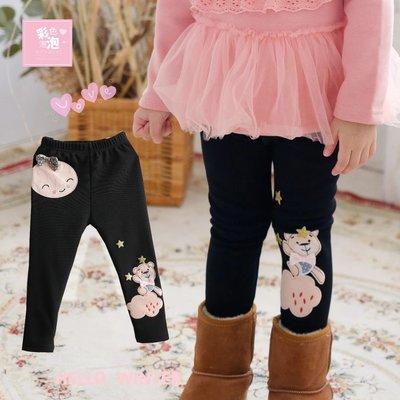 ○。° 彩色泡泡 °。○ 童裝【貨號H20349】冬。黑色可愛小熊加厚絨毛貼腿褲