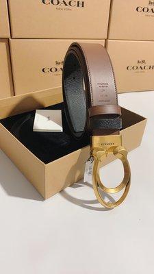 【紐約精品舖】COACH 89279 新款男士雙C款扣頭牛皮材質 雙面使用皮帶 腰帶 可自由裁剪 超低直購  附購買憑證