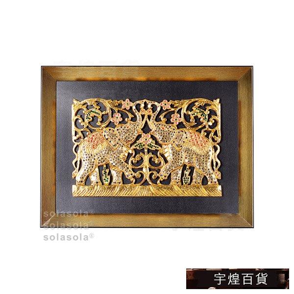 《宇煌》餐廳客廳金箔雕花掛畫泰國裝飾畫泰式實物畫東南亞_PkBU