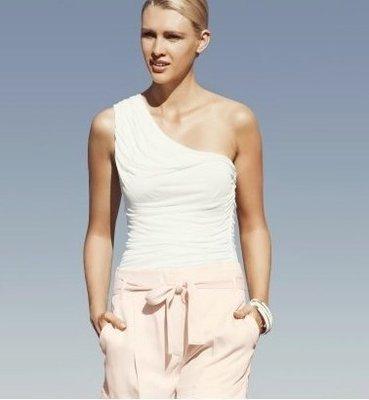 [ 清衣櫃 特價 ]全新  正品 H&M 白色斜肩上衣 asos zara ae sly moussy topshop
