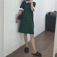 Jomi日韓 優雅氣質 前後兩穿復古撞色翻領針織短袖連身裙* 【JA23-RR8777】促銷