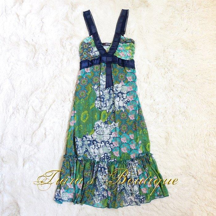 MORGAN DE TOI 法國品牌 孔雀綠 印花 熱帶 絲質 度假 洋裝