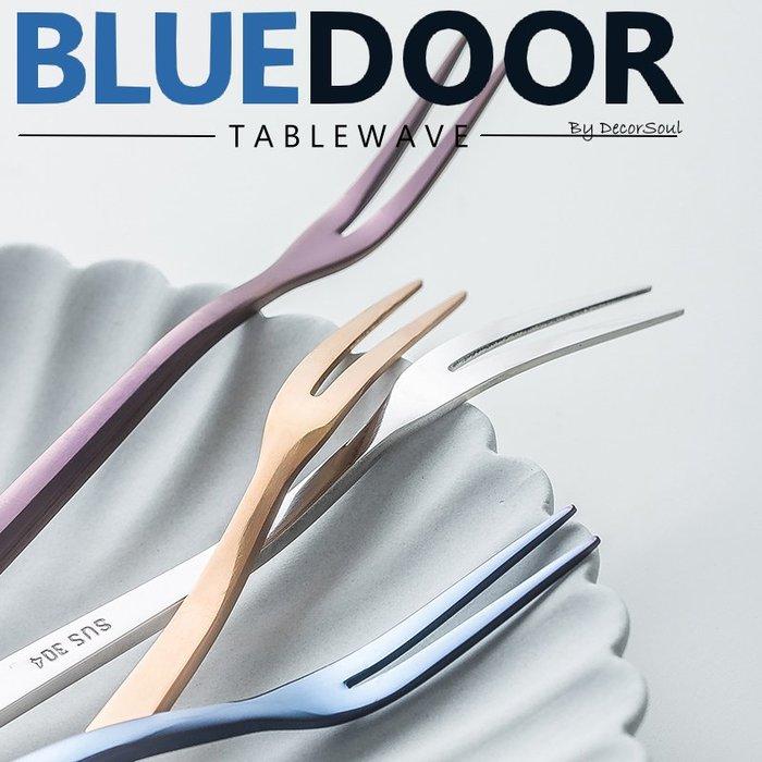 BlueD_餐具 304不鏽鋼  電鍍 金色 叉子 二齒叉 甜點叉 水果叉 小叉子  北歐設計新居入遷禮物 韓國 網美風