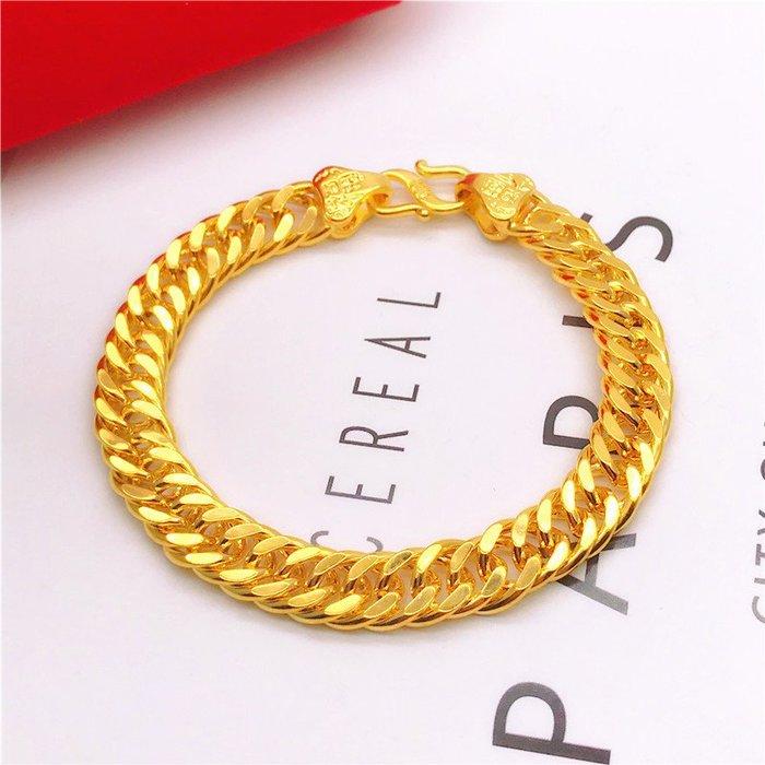 送禮佳品 黃銅鍍金飾品 福字馬鞭手鏈男士仿越南沙金24k色老板金鏈久不掉色