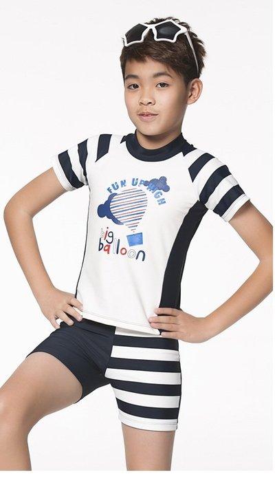 ~有氧小舖~APPLE蘋果牌 幼童兩件式短袖泳裝 水母衣小朋友短袖泳衣+四角泳褲  防曬