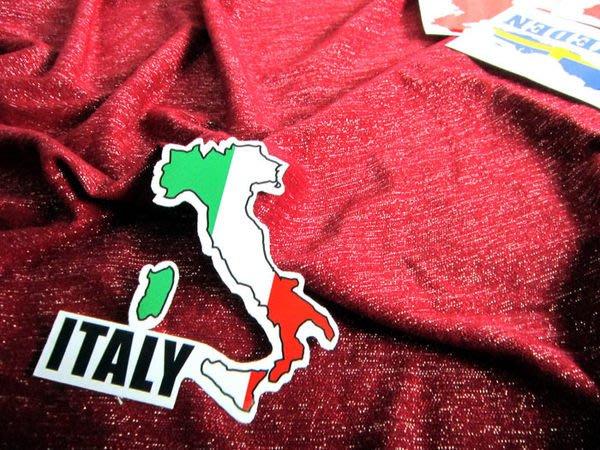 【國旗貼紙專賣店】義大利國旗地圖抗UV、防水行李箱貼紙/Italy/多國款可收集和訂製