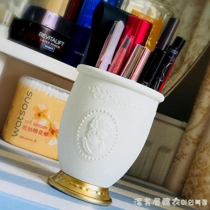 貴族浮雕化妝刷桶筆刷筒多功能收納刷桶美妝散粉刷粉底刷腮紅刷