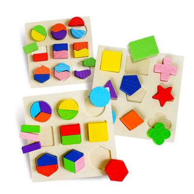 【媽媽倉庫】 幾何彩色木製認知形狀板 玩具 早教玩具