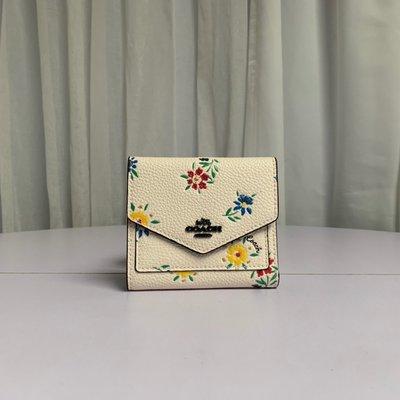 美國正品 COACH 1131 新款牧場草原系列花卉印花皮夾 女式三折短夾 錢包 卡包