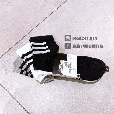 【豬豬老闆】ADIDAS 3-Stripes 黑 白 灰 襪子 腳踝襪 中筒 三雙一組 休閒 運動 男女款 GE6165