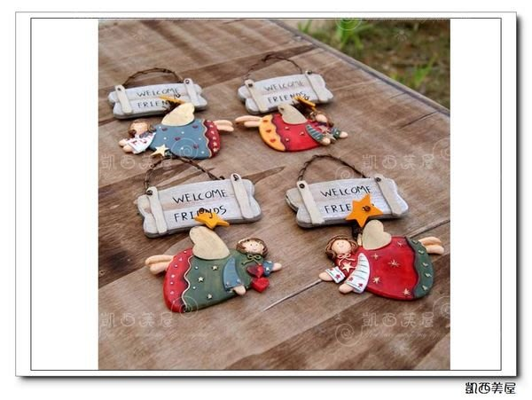 凱西美屋 鄉村實木風樹脂天使歡迎牌