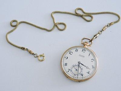 1900S 原裝真品 正18K金 ZENITH 真力時 先力 手動機械古董懷錶