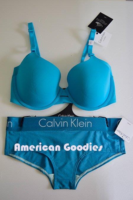 全新真品 CK Calvin Klein 土耳其藍無痕胸罩34/75C+平口內褲S