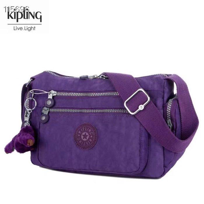 Kipling 猴子包  K132127 紫色 多夾層拉鍊款輕量斜背包肩背包 大容量 旅遊 防水 限時優惠