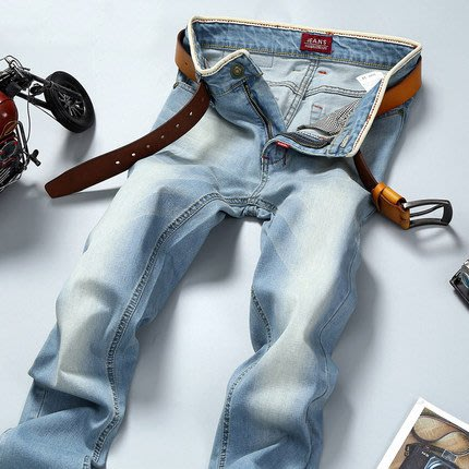 [C.M.平價精品館]現貨31、35、36腰/帥氣時尚顯瘦舒適小褲管彈性牛仔褲  深色/淺色