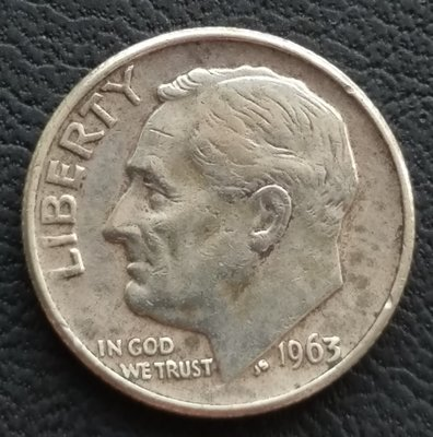 美國 羅斯福  1角  10分  ONE DIME  1963-D      銀幣(90%)    280-872