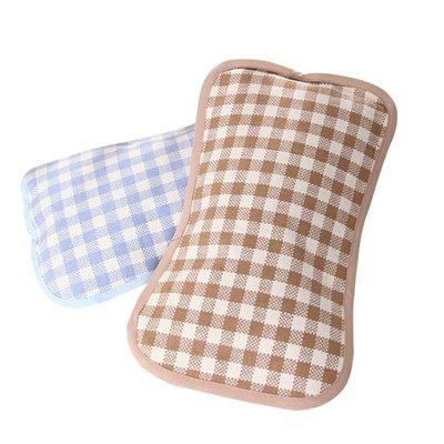 寶寶新款透氣護頸兒童枕頭嬰兒蕎麥枕頭微防水秋夏季亞麻格子涼枕- 全館免運