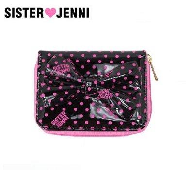 日本 SISTER JENNI 黑粉波點光感膠面布 大蝴蝶結 銀包 ( $120 包順豐 )
