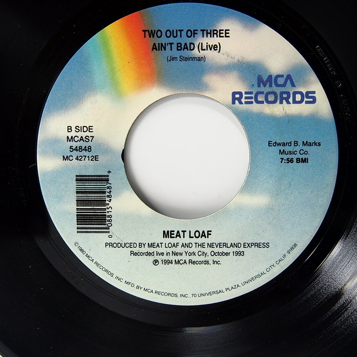 45 rpm 7吋單曲 Meat Loaf 【Two out of three ain't bad】1994 MAC