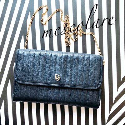 售罄mescolare二手精品正品Dior vintage經典Logo包鏈條包古董包真皮深藍系復古包兩用包