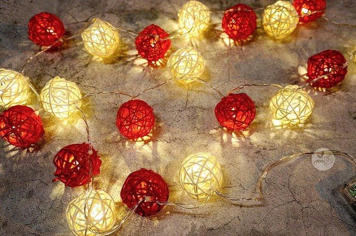 裝飾燈串_米紅藤球20顆(電池)4米_B107-004◎串燈.燈具.藤球.米色.紅色.裝飾燈.布置.裝飾