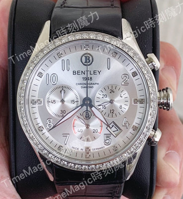 【時刻魔力】BENTLEY 賓利男士銀色真鑽腕錶(BL1784-202WCB-S)