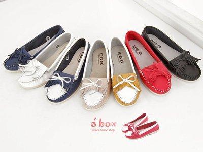 格子舖*【KITP518】台灣製造  拼接色系 流蘇蝴蝶結真皮莫卡辛包鞋小白鞋 8色現貨