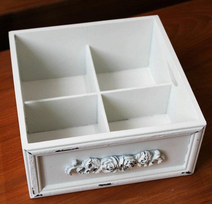 【愛麗絲生活家飾雜貨】zakka 歐式復古做舊雕花白色木質首飾盒 /4格收納盒