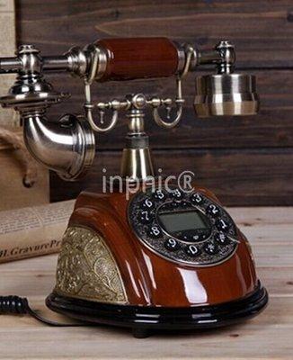 INPHIC-座機時尚歐式電話機 復古仿木電話機 復古電話機