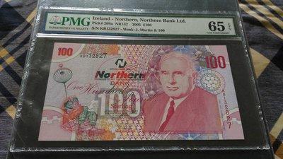 北愛爾蘭(Ireland-Northern), 100磅, 2005年, UNC全新, 鑑定紙鈔!!