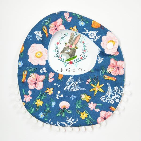 米咕手作 △ 寶寶六重紗 圍兜兜 / 口水巾 / 領巾 |巴黎的華麗花園| 豆豆球花邊