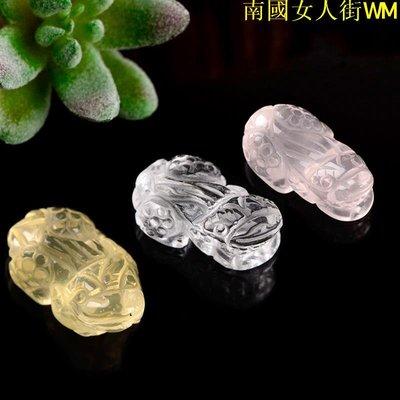 南國女人街WM天然黃水晶貔貅吊墜玉石白水晶貔貅掛件粉晶貔貅吊墜手工雕刻
