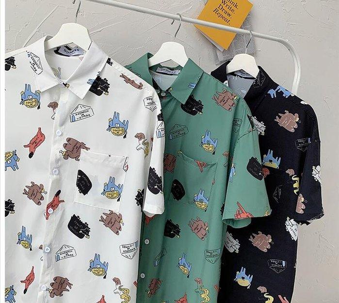 FINDSENSE X  男士 薄款 短袖襯衫 夏季男塗鴉花上衣情侶 圖案襯衣潮襯衫