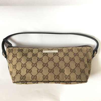 Gucci cotton pouch/brown (95%new 100%real)