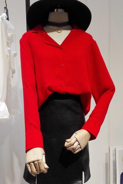 雪紡襯衫正韓版秋裝紅色韓范襯衫女長袖時尚百搭寬松顯瘦西裝領雪紡襯衣上衣D388-22
