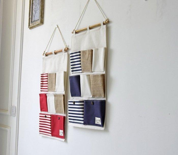【愛麗絲生活家飾雜貨】zakka棉麻海軍風條紋8格防水掛式收納袋/置物袋/雜物收納