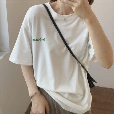 柔軟小字母刺繡短鏽T恤 chic ☆ ...