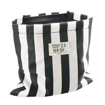亮晶晶小舖-日本精品CARMATE 黑白條紋皮革調垃圾桶 DZ327 垃圾桶 置物袋 車用置物袋 黑白條紋