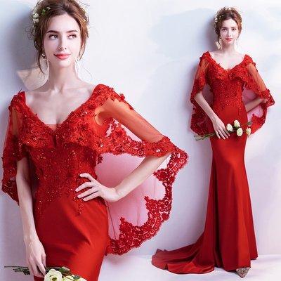 新年婚禮禮服婚紗禮服宴會禮服奢美氣質深V鑲鉆神款紅色魚尾結婚敬酒婚紗禮服批發t