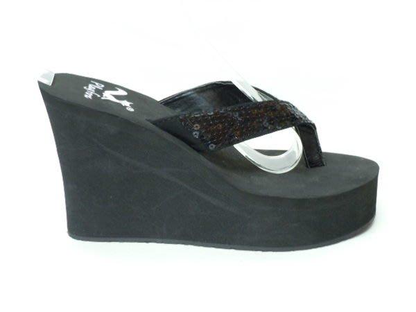 【A112】☆.╮莎拉公主❤ ~°* 時尚系~ 注目焦點閃耀亮片厚底楔型拖鞋