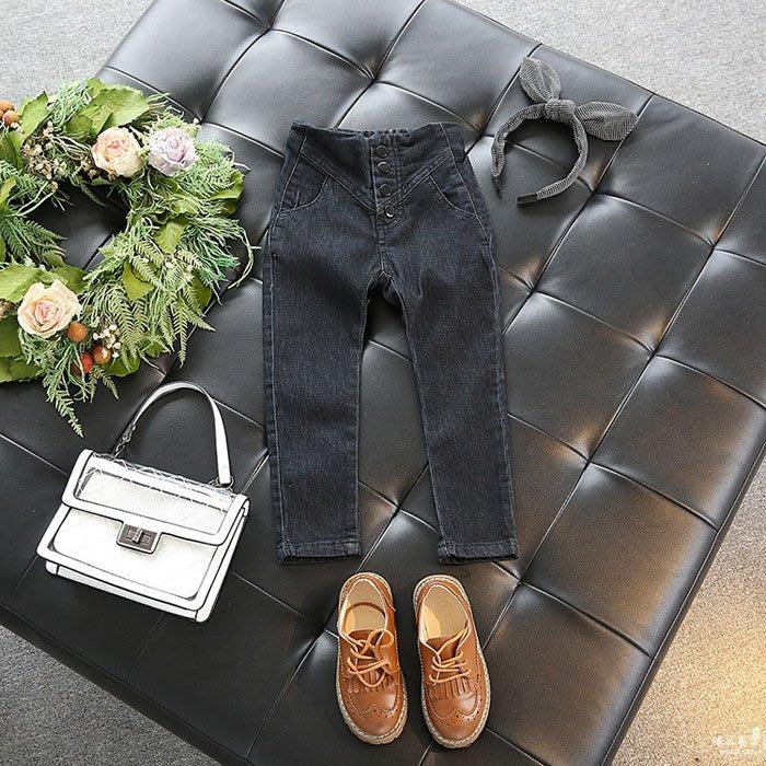 [C.M.平價精品館]90~130公分/舒適百搭黑色彈力牛仔褲