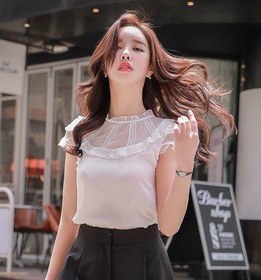 短袖襯衫本白色圓領蕾絲拼接荷葉木耳邊短袖襯衫許願魔鏡@wishing Mirror-*-D17BST077
