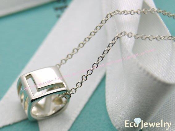 《Eco-jewelry》【Tiffany&Co】新款 LOVE簍空方墜項鍊 純銀925項鍊~專櫃真品已送洗