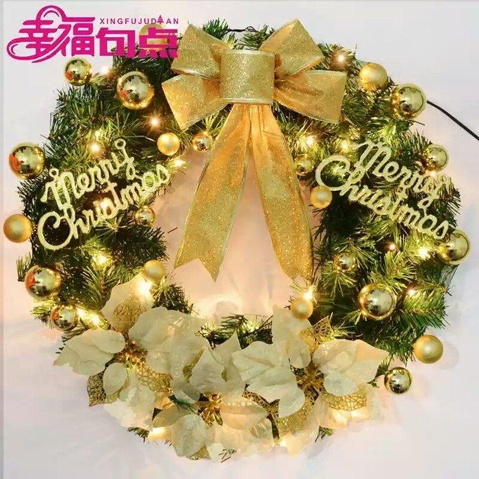 粉紅玫瑰精品屋~浪漫聖誕花環裝飾45cm聖誕掛飾~帶電池燈