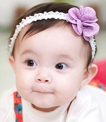 BHL062-韓劇童星愛用品牌HappyPrince 立體點點花蕾絲寶寶嬰兒童髮帶【現貨】韓國製