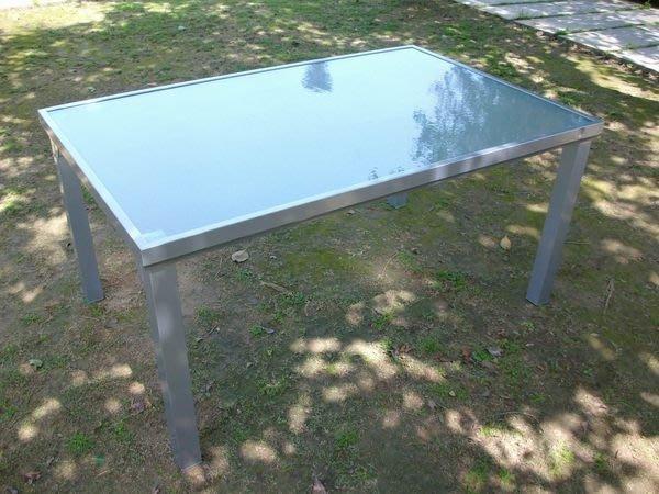 兄弟牌鋁合金長方形玻璃庭院桌~銀灰色~桌面寬152*長96CM大型長桌