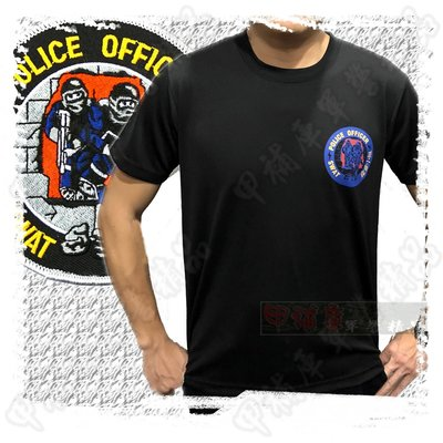 《甲補庫》~霹靂小組SWAT警官隊圓領短袖快速排汗黑色T恤/POLICE OFFICER