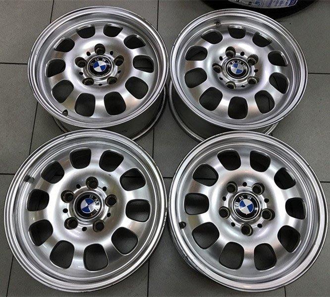 中古鋁圈 正廠 原廠鋁圈 BMW E46 原廠輕量化 鋁鎂合金 15吋 5孔120 一組完工價 6000 E46